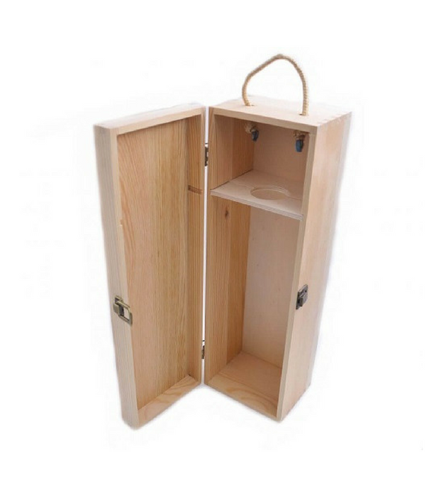 Customized Wooden Wine Box With Handle Single Custom Packaging